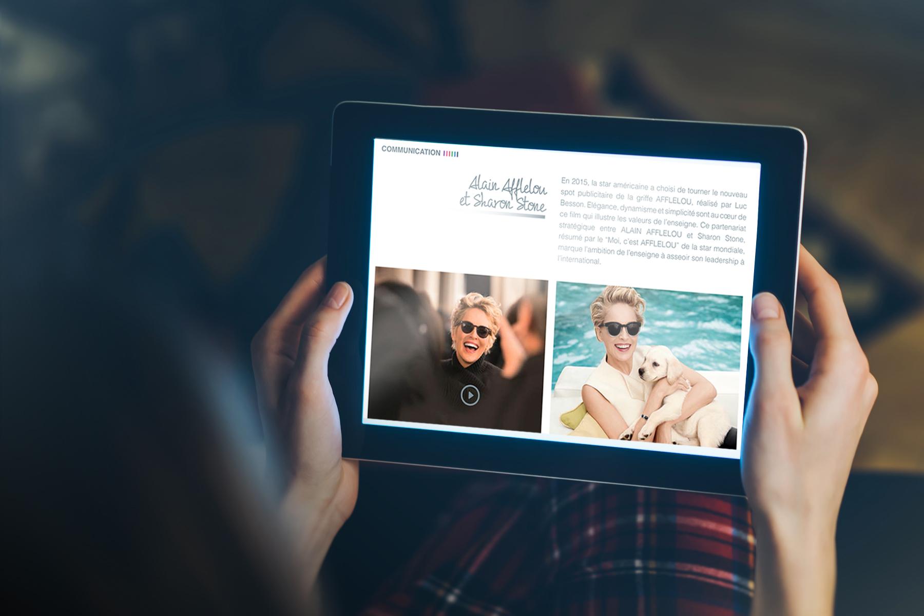 afflelou-ebrochure-ipad-digital-agence-communication-et-création-graphique-quelque-chose-en-plus